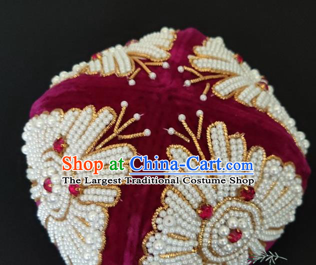 Chinese Traditional Uyghur Nationality Embroidered Beads Rosy Hat Ethnic Folk Dance Stage Show Headwear for Women