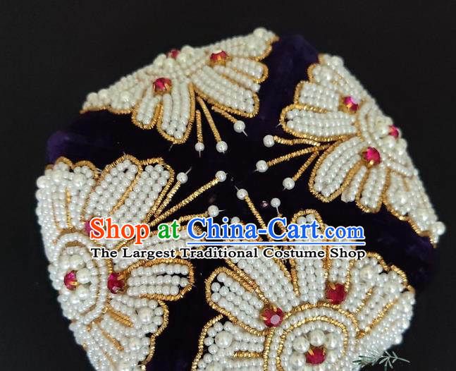 Chinese Traditional Uyghur Nationality Embroidered Beads Deep Blue Hat Ethnic Folk Dance Stage Show Headwear for Women