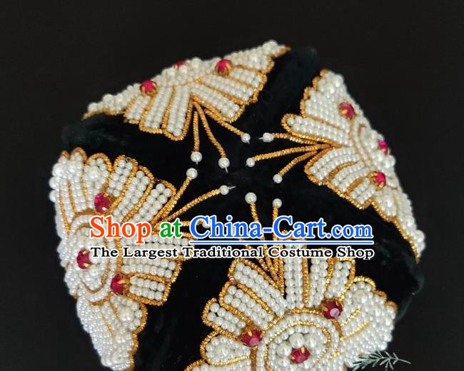 Chinese Traditional Uyghur Nationality Embroidered Beads Black Hat Ethnic Folk Dance Stage Show Headwear for Women