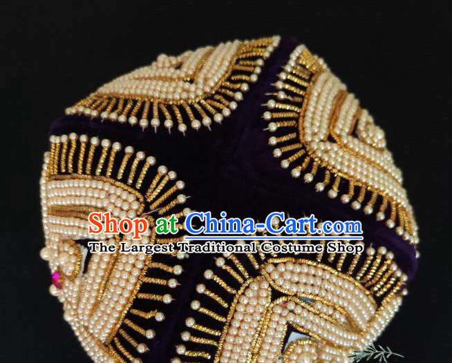 Chinese Traditional Uyghur Nationality Embroidered Beads Purple Hat Ethnic Folk Dance Stage Show Headwear for Women