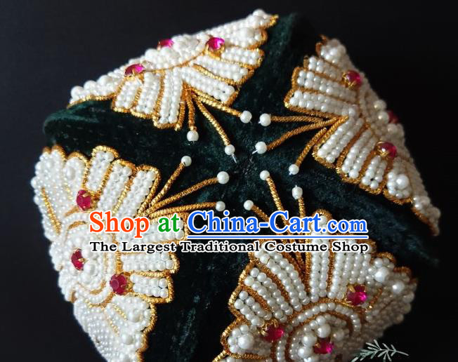 Chinese Traditional Uyghur Nationality Embroidered Beads Atrovirens Hat Ethnic Folk Dance Stage Show Headwear for Women