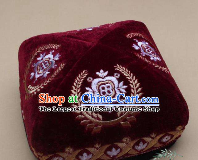 Chinese Traditional Uyghur Nationality Folk Dance Embroidered Wine Red Velvet Hat Ethnic Xinjiang Stage Show Headwear for Men