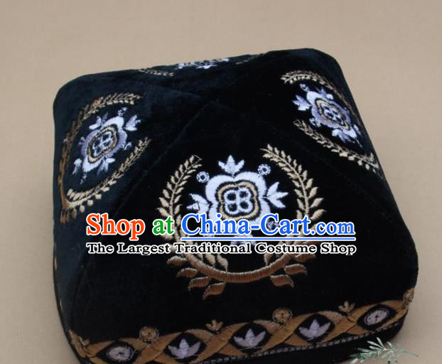 Chinese Traditional Uyghur Nationality Folk Dance Embroidered Atrovirens Velvet Hat Ethnic Xinjiang Stage Show Headwear for Men