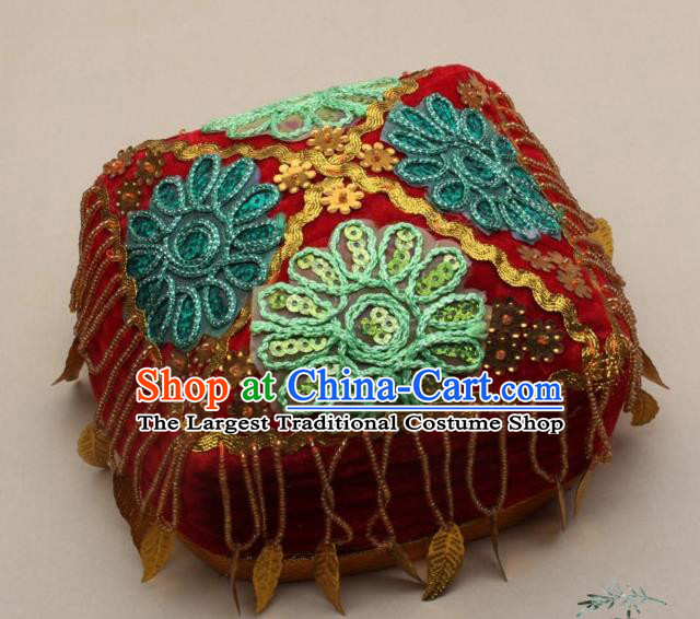 Chinese Traditional Uyghur Nationality Girls Embroidered Red Hat Ethnic Folk Dance Stage Show Headwear for Kids