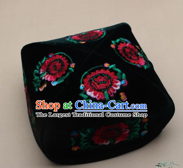 Chinese Traditional Uyghur Nationality Embroidered Black Velvet Hat Ethnic Xinjiang Folk Dance Stage Show Headwear for Men