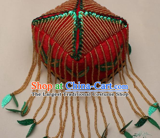 Chinese Traditional Uyghur Nationality Girls Green Leaf Tassel Hat Ethnic Folk Dance Stage Show Headwear for Kids