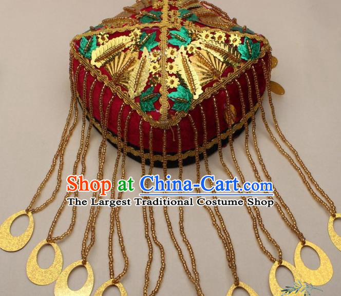 Chinese Traditional Uyghur Nationality Girls Golden Beads Tassel Hat Ethnic Folk Dance Stage Show Headwear for Kids