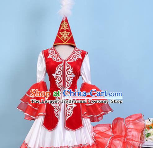 Chinese Traditional Xinjiang Kazak Nationality Embroidered Dress Ethnic Folk Dance Costume for Women