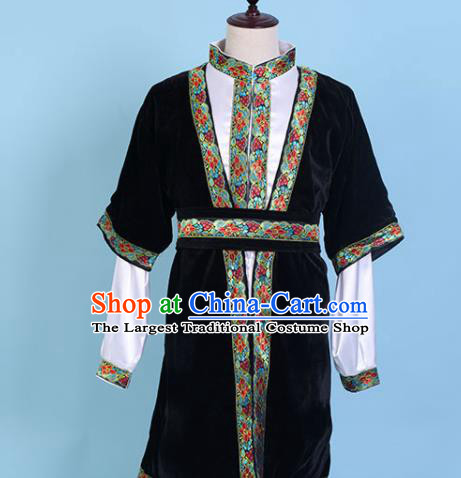 Chinese Traditional Kazak Nationality Embroidered Black Clothing Xinjiang Ethnic Folk Dance Costume for Men