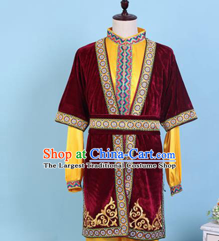 Chinese Traditional Kazak Nationality Embroidered Wine Red Clothing Xinjiang Ethnic Folk Dance Costume for Men