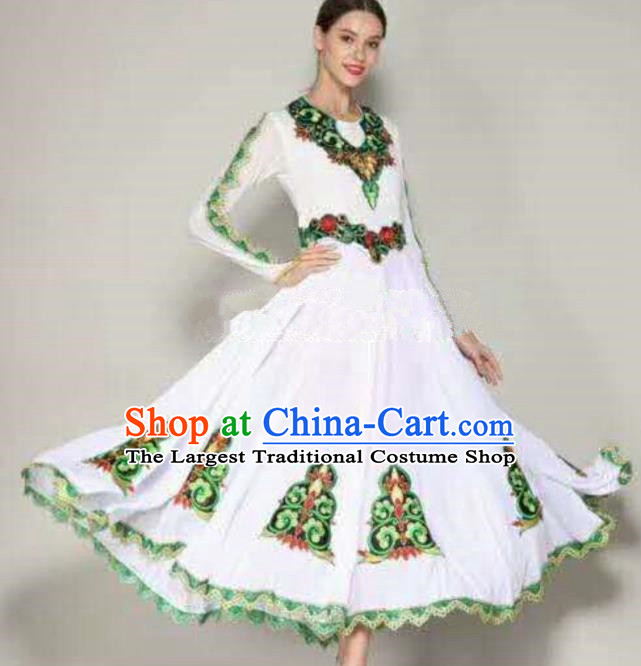 Traditional Chinese Xinjiang Uyghur Nationality Folk Dance White Dress Ethnic Stage Show Costume for Women