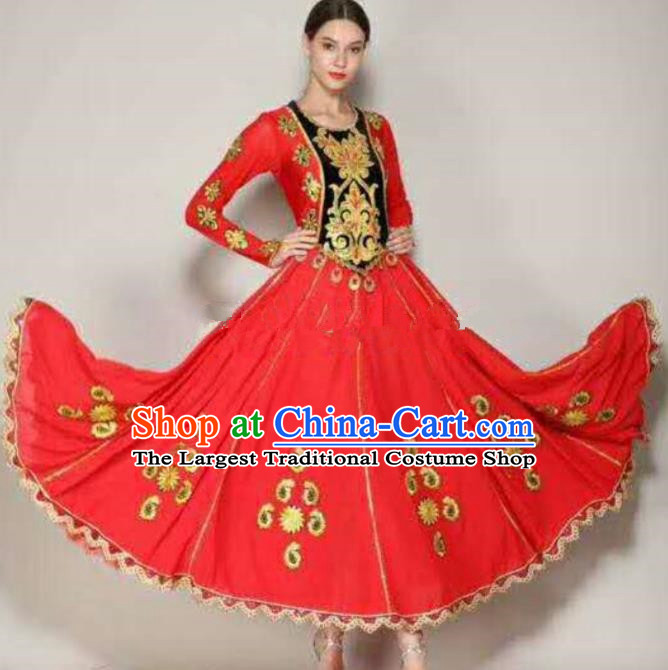 Traditional Chinese Xinjiang Uyghur Nationality Folk Dance Red Dress Ethnic Stage Show Costume for Women