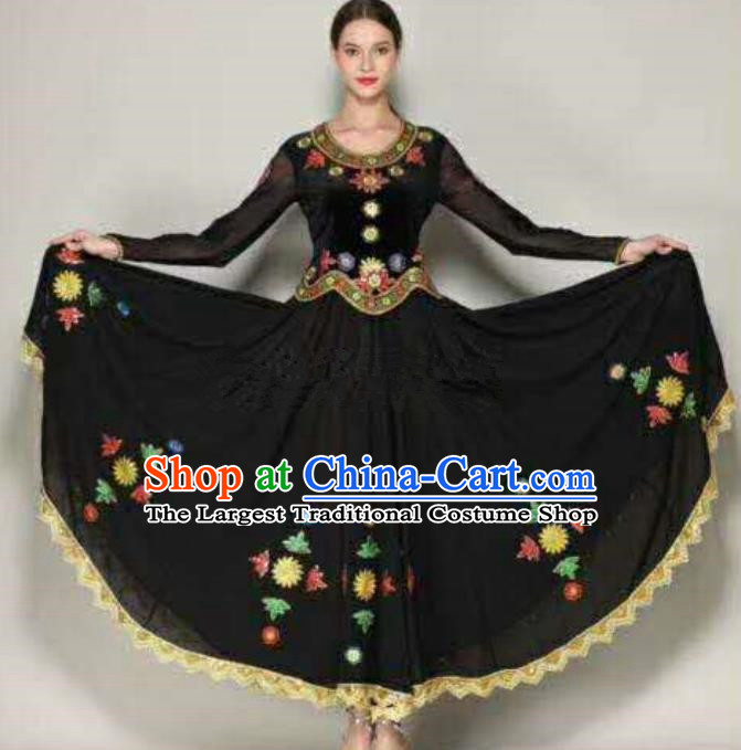 Traditional Chinese Xinjiang Uyghur Nationality Folk Dance Black Dress Ethnic Stage Show Costume for Women