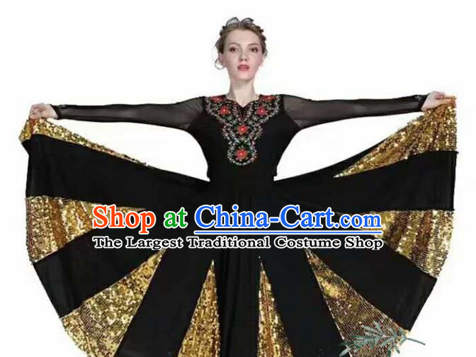 Traditional Chinese Xinjiang Uyghur Nationality Black Dress Ethnic Folk Dance Stage Show Costume for Women