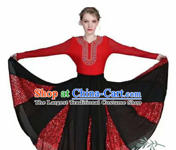 Traditional Chinese Xinjiang Uyghur Nationality Red Dress Ethnic Folk Dance Stage Show Costume for Women