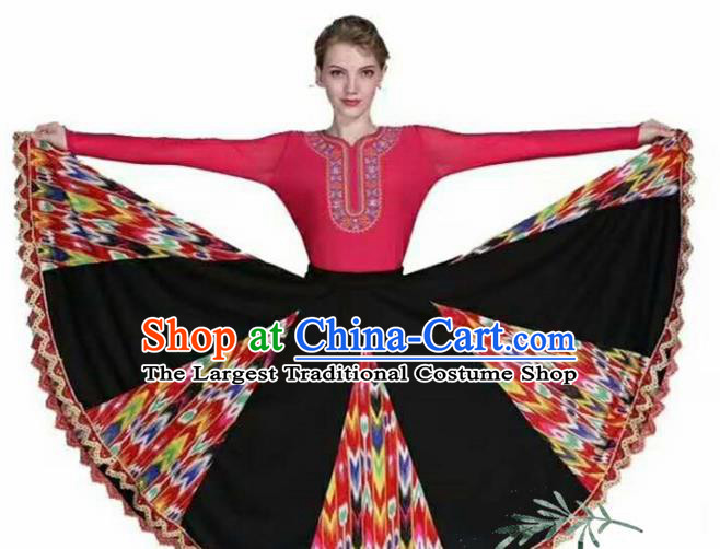 Traditional Chinese Xinjiang Uyghur Nationality Rosy Dress Ethnic Folk Dance Stage Show Costume for Women