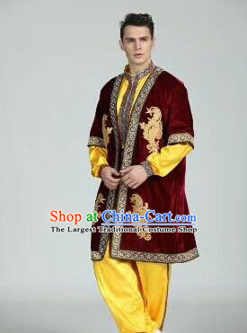 Chinese Traditional Uyghur Nationality Wine Red Outfits Xinjiang Ethnic Minority Folk Dance Stage Show Costume for Men