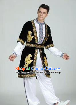 Chinese Traditional Uyghur Nationality Outfits Xinjiang Ethnic Minority Folk Dance Stage Show Costume for Men