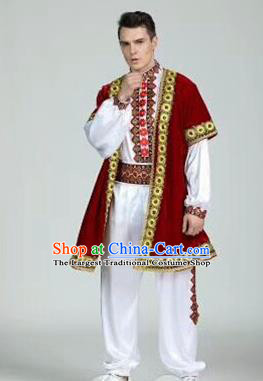 Chinese Traditional Uyghur Nationality Red Outfits Xinjiang Ethnic Minority Folk Dance Stage Show Costume for Men