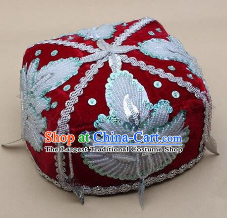 Chinese Traditional Uyghur Nationality Boys Embroidered Beads Red Hat Ethnic Xinjiang Stage Show Headwear for Kids
