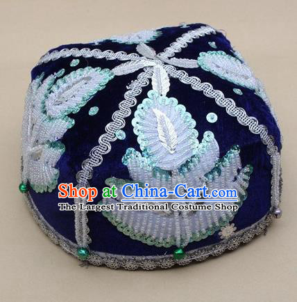 Chinese Traditional Uyghur Nationality Boys Embroidered Beads Royalblue Hat Ethnic Xinjiang Stage Show Headwear for Kids