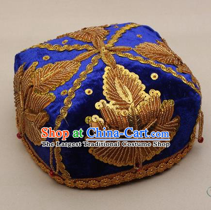 Chinese Traditional Uyghur Minority Boys Embroidered Beads Royalblue Hat Ethnic Xinjiang Stage Show Headwear for Kids