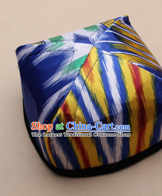 Handmade Chinese Traditional Uyghur Minority Blue Silk Hat Ethnic Nationality Folk Dance Headwear for Women