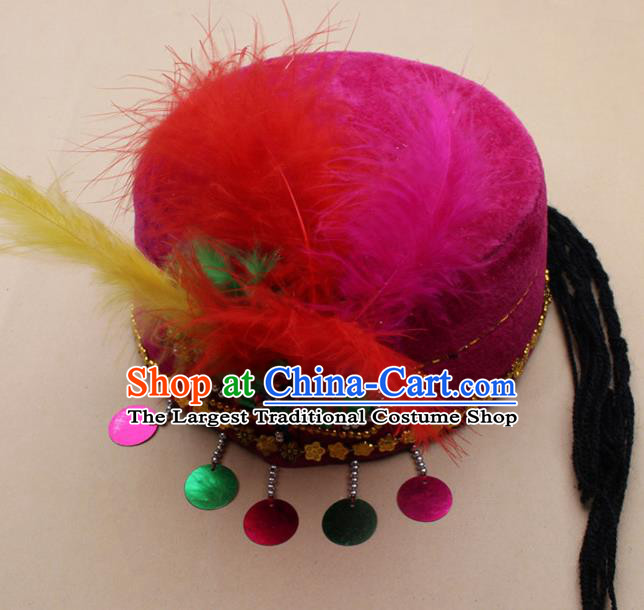 Handmade Chinese Traditional Uyghur Minority Feather Rosy Silk Hat Ethnic Nationality Folk Dance Headwear for Women