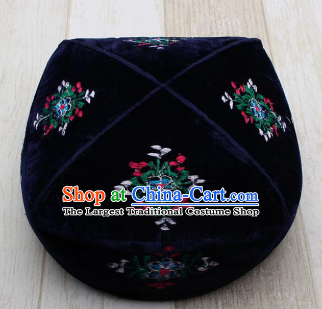 Chinese Traditional Uyghur Minority Embroidered Navy Hat Ethnic Xinjiang Folk Dance Headwear for Men