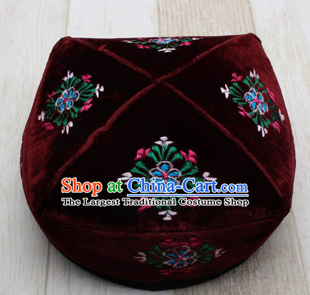 Chinese Traditional Uyghur Minority Embroidered Wine Red Hat Ethnic Xinjiang Folk Dance Headwear for Men