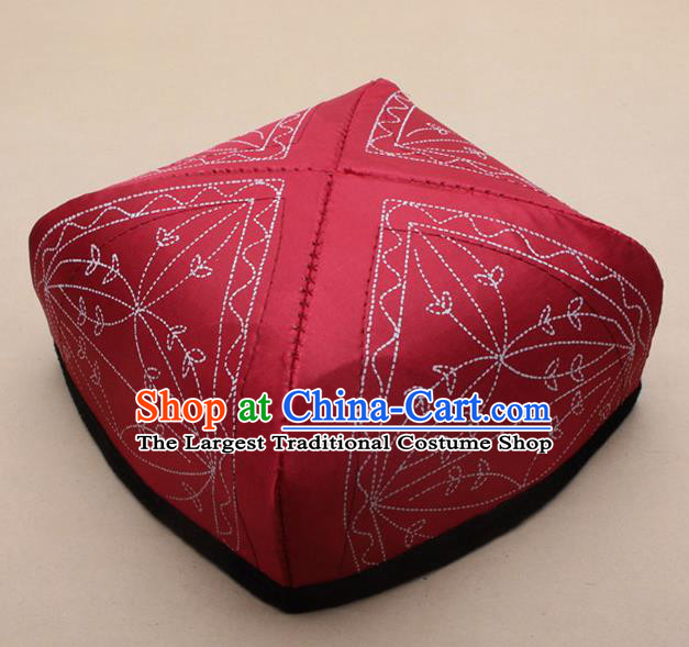 Chinese Traditional Uyghur Minority Red Silk Hat Ethnic Xinjiang Folk Dance Headwear for Men