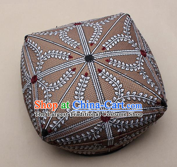 Chinese Traditional Uyghur Minority Dance Light Brown Hat Xinjiang Ethnic Headwear for Men