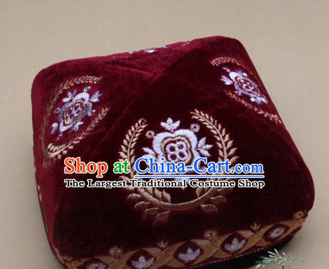 Chinese Traditional Uyghur Minority Dance Embroidered Red Hat Xinjiang Ethnic Headwear for Men