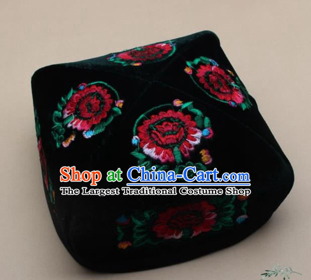 Chinese Traditional Uyghur Minority Dance Embroidered Red Flowers Hat Xinjiang Ethnic Headwear for Men
