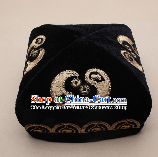 Chinese Traditional Uyghur Minority Dance Golden Embroidered Hat Xinjiang Ethnic Headwear for Men