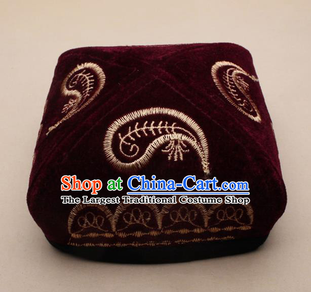 Chinese Traditional Uyghur Minority Dance Embroidered Wine Red Velvet Hat Xinjiang Ethnic Headwear for Men