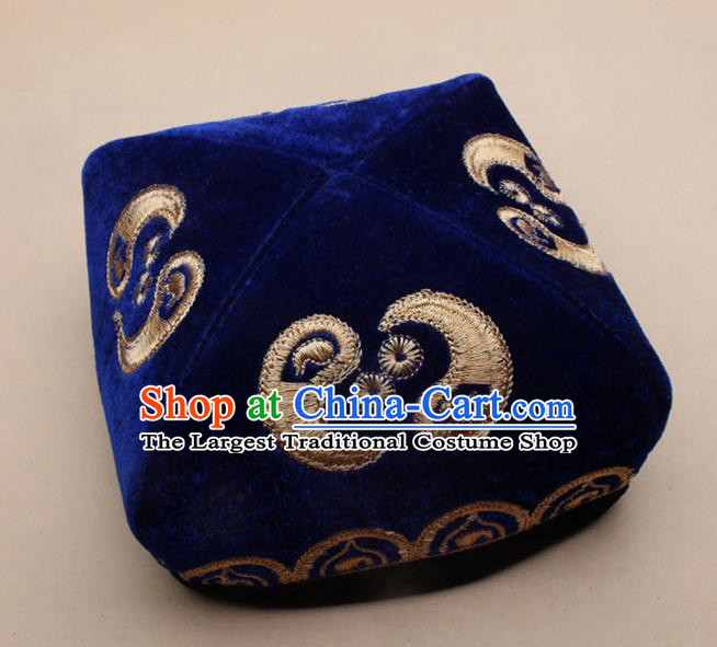 Chinese Traditional Uyghur Minority Dance Embroidered Royalblue Velvet Hat Xinjiang Ethnic Headwear for Men