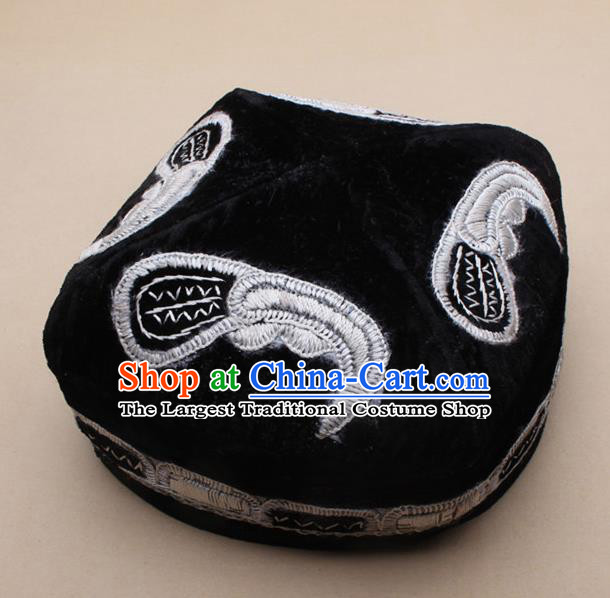 Chinese Traditional Uyghur Minority Dance Black Embroidered Hat Xinjiang Ethnic Headwear for Men