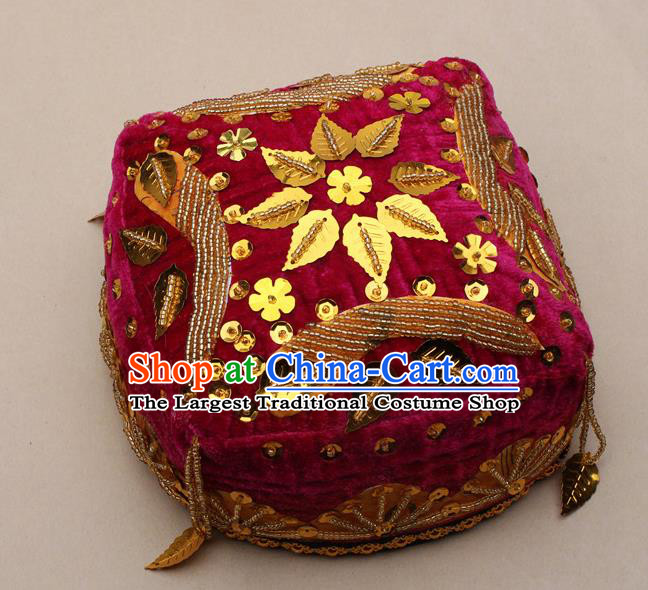 Handmade Chinese Traditional Uyghur Minority Dance Rosy Hat Ethnic Nationality Headwear for Women