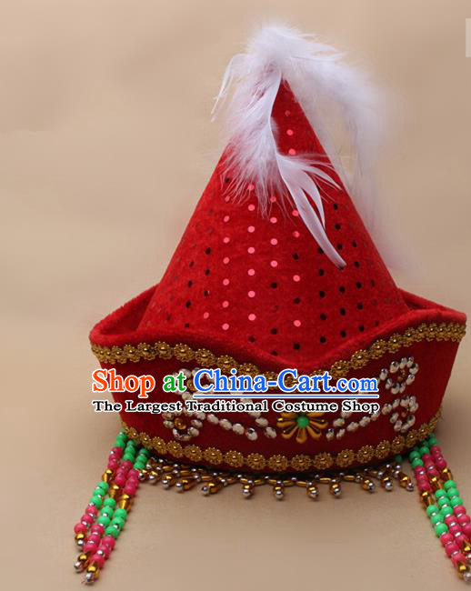 Handmade Chinese Traditional Mongol Minority Dance Red Hat Ethnic Nationality Headwear for Women