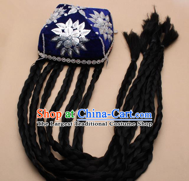 Chinese Traditional Uyghur Minority Dance Braid Paillette Blue Hat Xinjiang Ethnic Nationality Headwear for Women