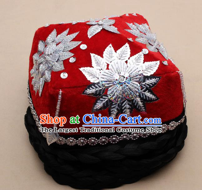 Chinese Traditional Uyghur Minority Dance Braid Paillette Red Hat Xinjiang Ethnic Nationality Headwear for Women