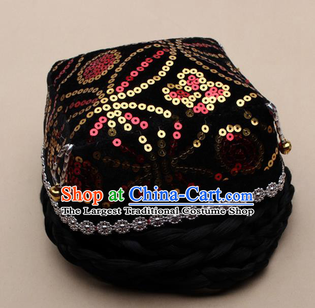 Chinese Traditional Uyghur Minority Dance Bells Black Hat Xinjiang Ethnic Nationality Headwear for Women