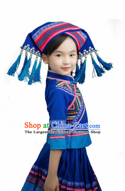Chinese Traditional Zhuang Nationality Blue Blouse and Skirt Ethnic Minority Folk Dance Stage Show Costume for Kids