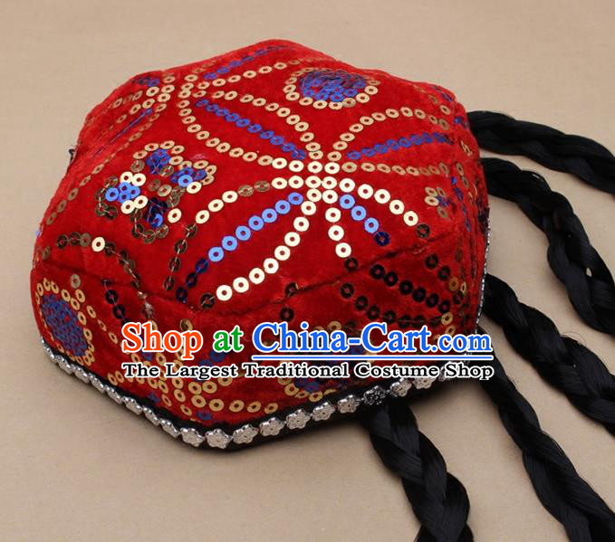 Chinese Traditional Xinjiang Ethnic Dance Hexagon Red Hat Uyghur Minority Nationality Headwear for Kids