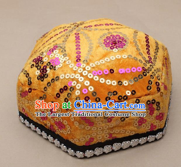 Chinese Traditional Xinjiang Ethnic Dance Hexagon Yellow Hat Uyghur Minority Nationality Headwear for Kids