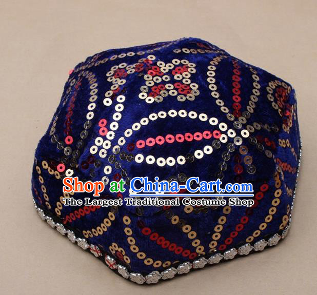 Chinese Traditional Xinjiang Ethnic Dance Hexagon Deep Blue Hat Uyghur Minority Nationality Headwear for Kids