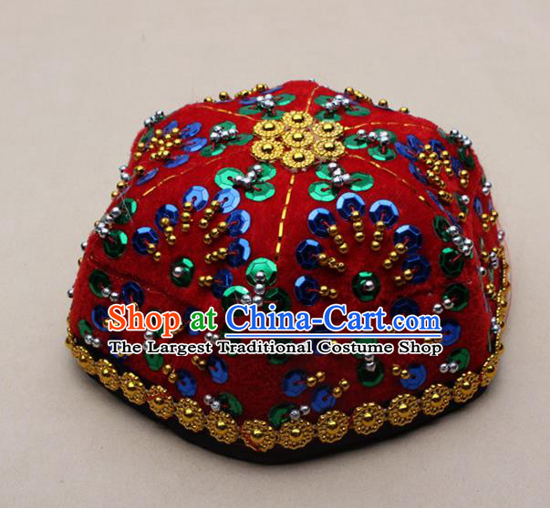 Chinese Traditional Xinjiang Ethnic Dance Paillette Red Hexagon Hat Uyghur Minority Nationality Headwear for Kids