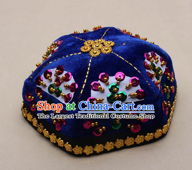 Chinese Traditional Xinjiang Ethnic Dance Paillette Royalblue Hexagon Hat Uyghur Minority Nationality Headwear for Kids