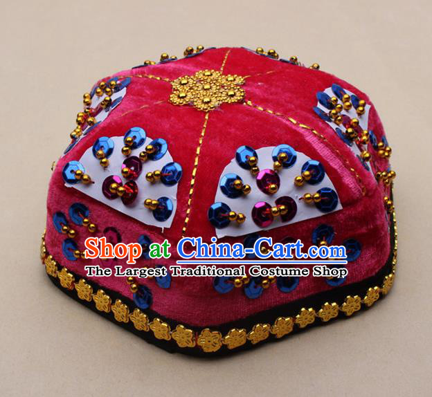 Chinese Traditional Xinjiang Ethnic Dance Paillette Rosy Hexagon Hat Uyghur Minority Nationality Headwear for Kids